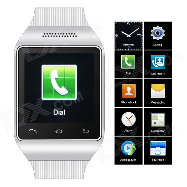 ZGPAX S18 GSM Watch Phone w/ 1.54 Capacitive Screen, Quad-band, Bluetooth, FM - White (UK) s18 gsm watch phone w 1 5 screen quad band bluetooth and fm black