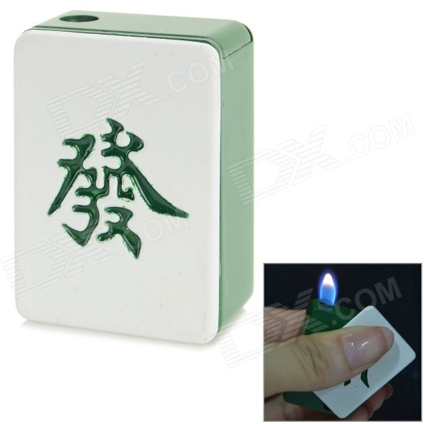 Creative Mahjong Style Metal Lighter Toy - Green + White