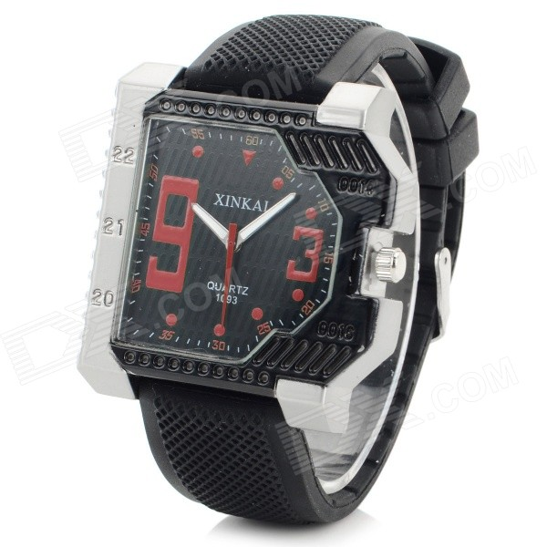 XINKAI Men's Stylish Analog Quartz Wristwatch - Black + Red (1 x 377)