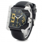 XINKAI Men's Stylish Analog Quartz Wristwatch - Black + Yellow (1 x 377)