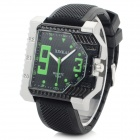 XINKAI Men's Stylish Analog Quartz Wristwatch - Black + Green (1 x 377)
