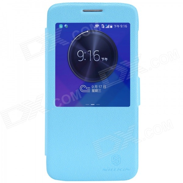 NILLKIN Fresh Series Protective PU Leather + PC Case w/ View Window for HUAWEI C199 - Blue корпус corsair obsidian series 350d window cc 9011029 ww