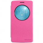 NILLKIN Protective PU Leather + PC Case w/ View Window for LG G3 Beat - Deep Pink
