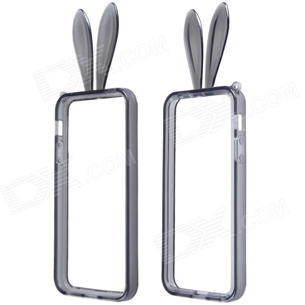 Lovely Rabbit Ears Style Protective TPU Bumper Frame Case w/ Strap for IPHONE 5 / 5S - Gray