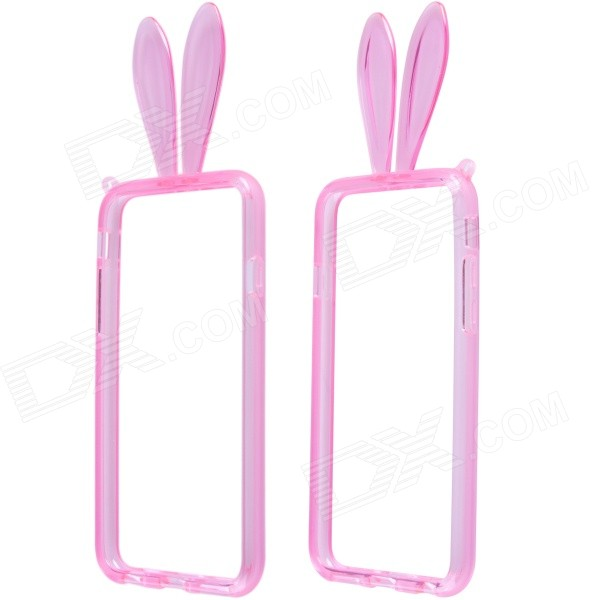 Lovely Rabbit Ears Style Protective TPU Bumper Frame Case w/ Strap for IPHONE 6 4.7 - Pink