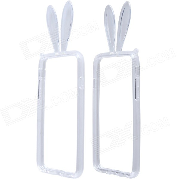 Lovely Rabbit Ears Style Protective TPU Bumper Frame Case w/ Strap for IPHONE 6 4.7 - Transparent