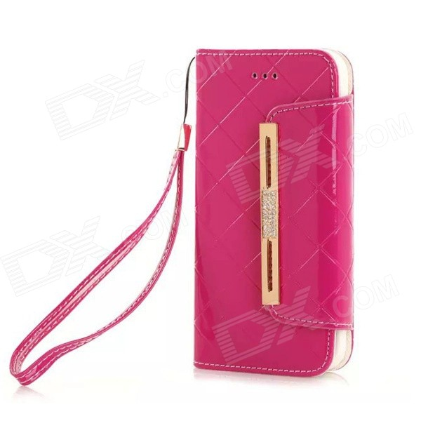 Fashionable Purse Style PU + TPU Full Body Case w/ Card for IPHONE 6 4.7 - Deep Pink metal chain handbag style pu tpu full body case w card slot for iphone 6 4 7 gold