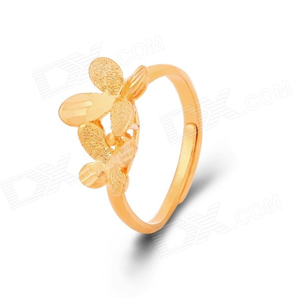 KCCHSTAR Women's Four-Leaf Clovers Style Gold-plated Finger Ring - Golden (US Size: 8)