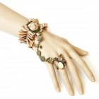 Women's Patterned Gothic Halloween Decoration Bracelets w/ Connected Ring - Champagne (5 PCS)