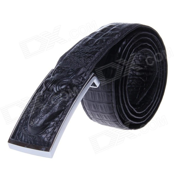 Men's Alligator Head Patterned Elegant Split Leather Belt w/ Smooth Buckle - Black