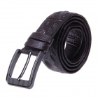Men's Patterned Fashionable Split Leather Belt w/ Business Pin Buckle - Coffee