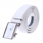 Men's Alligator Head Patterned Elegant Split Leather Belt w/ Smooth Buckle - White
