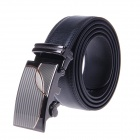 Men's Business Casual Stitching Decorative Pattern Split Leather Belt w/ Auto Buckle - Black + Brown