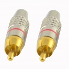 HF-RCA Gold-plated Male Plug Audio / Video Connectors - Golden + Silver (2 PCS)