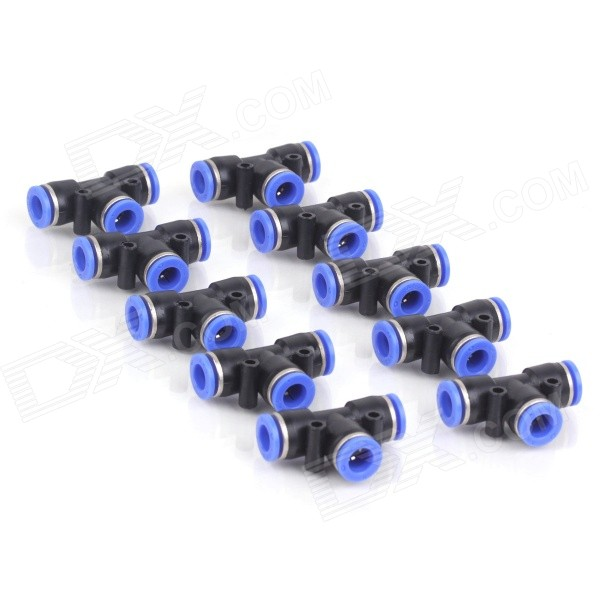 ZnDiy-BRY PE8 8mm T-Type Pneumatic Quick-Fitting Push In Connectors - Black + Blue (10 PCS) 6mm hole 1 8 pt male thread straight push in tube pneumatic quick fitting 5 pcs