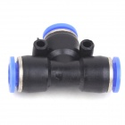 ZnDiy-BRY PE8 8mm T-Type Pneumatic Quick-Fitting Push In Connectors - Black + Blue (10 PCS)
