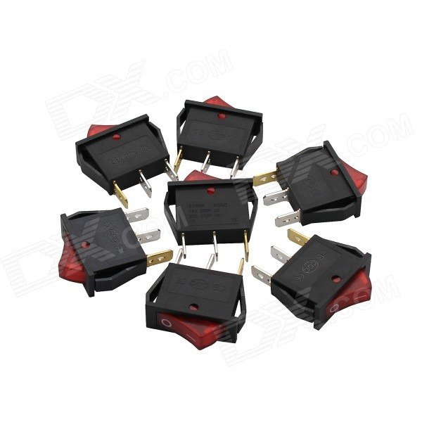 TAD-SM606 Rocker Switches w/ Red Indicator - Black (7 PCS) 10 pcs red indicator lamp dual spst 6 pins snap in rocker switches w cover