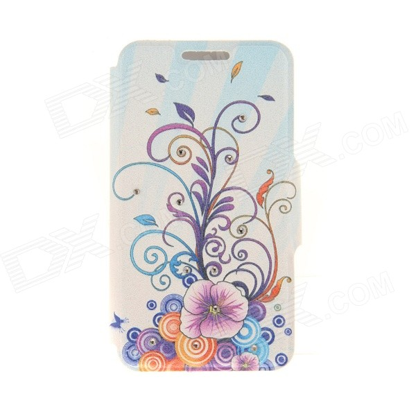 "Kinston KST91832 Flower Vine Pattern PU Leather Case for IPHONE 6 4.7"" - Purple + Blue"