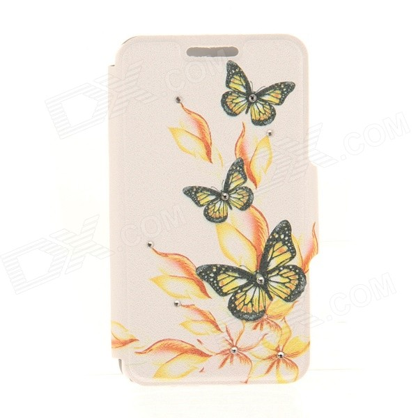 Kinston Yellow Butterfly Pattern PU Leather + Plastic Case for IPHONE 6 4.7 - Black + Yellow onjess origami stand leather cell phone case for iphone 6s 6 yellow