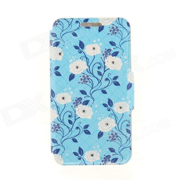 Kinston White Flower Pattern PU Leather + Plastic Case for IPHONE 6 4.7 - White + Blue kinston flowers
