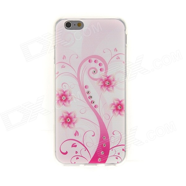 Kinston Pink Art Tree Pattern TPU Soft Case for IPHONE 6 4.7 - White + Pink kinston colorful six petals flowers pattern plastic back case for iphone 5c pink white