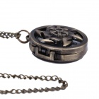HB012 Retro Stylish Flywheel Shaped Pendant Quartz Analog Pocket Watch w/ Chain - Copper (1 x 377)