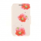 "Kinston Red Flowers Pattern PU Leather + Plastic Case for IPHONE 6 4.7"" - Beige + Red"