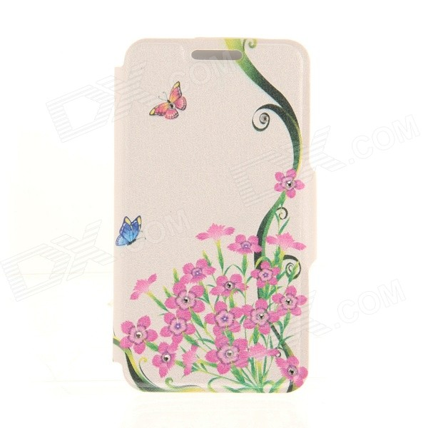 Kinston Butterfly Wild Flowers Pattern PU Leather + Plastic Case for IPHONE 6 4.7 - Pink + Black butterfly bling diamond case