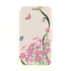 "Kinston Butterfly Wild Flowers Pattern PU Leather + Plastic Case for IPHONE 6 4.7"" - Pink + Black"