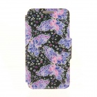"Kinston Lace Butterflies Pattern PU Leather Cover Case for IPHONE 6 4.7"" - Black + Dark Blue"