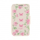 "Kinston Butterfly Flower Vine Pattern PU Leather + Plastic Case for IPHONE 6 4.7"" - Beige + Pink"