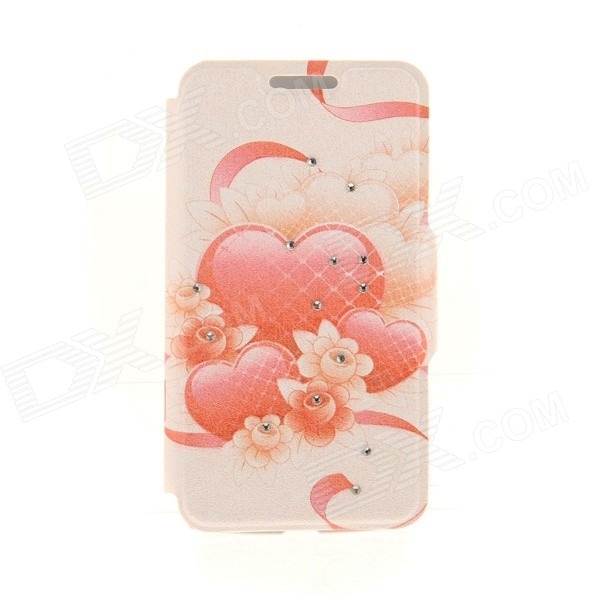 Kinston Red Heart Network Pattern PU Leather Cover Case for IPHONE 6 4.7 - Red + Orange kinston flowers