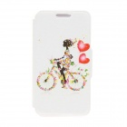 Kinston Bike Girl Pattern PU Leather Full Body Cover with Stand for IPHONE 6 PLUS