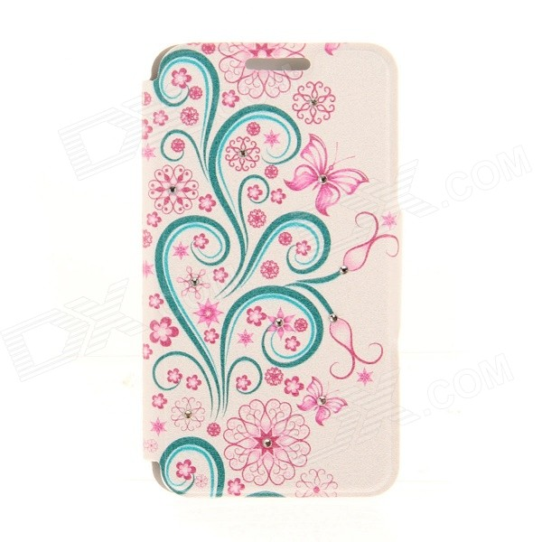 Kinston Butterfly Lace Pattern PU Leather Cover Case for IPHONE 6 4.7 - Blue + Pink kinston kst91820 petunia pattern pu leather plastic cover for iphone 6 4 7 pink multicolored
