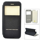 "Smart Touch Slide Answer Phone Design PU Leather Flip Cases w/ Stand for IPHONE 6 4.7"" - Black"