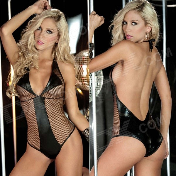 S68910 Women's Fashionable Sexy Spandex Mesh Halter One-Piece Underwear - Black women s fashionable sexy mesh one piece underwear white
