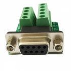 HF 9Pin 3.81 Female Block Terminal DB9 Connector Module - Green
