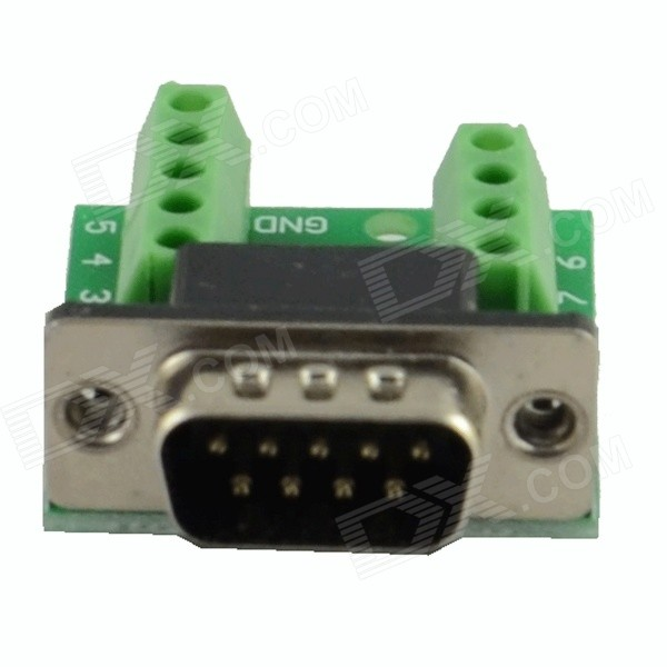 HF-9Pin 3.81 Male Block Terminal DB9 Connectors Module - Green 2 pin 7 62mm pitch screw terminal block connectors green 20 piece pack