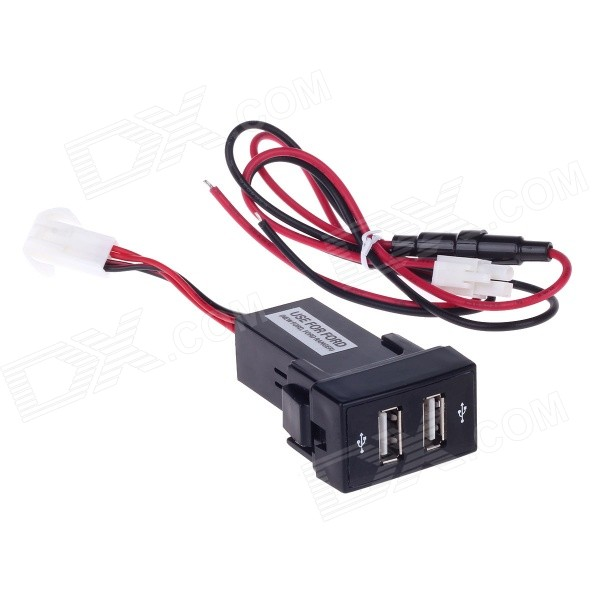 2.1A Dual USB Car Cigarette Lighter Charger for Ford - Black