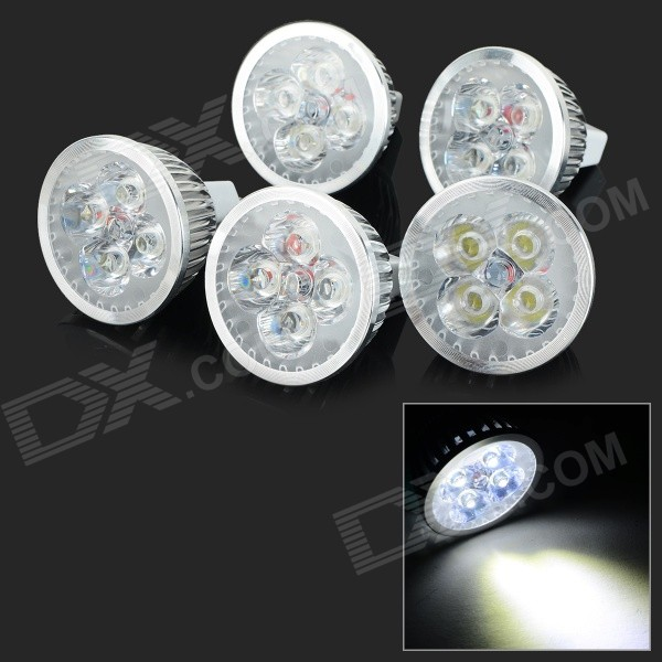 JRLED MR16 4W 370lm 6500K 4-LED White Light Spotlights - Silver + White (5 PCS / DC 12V)