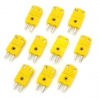 Thermocouple Type-K Temperature Sensor Connectors - Yellow + Silver (10 PCS)