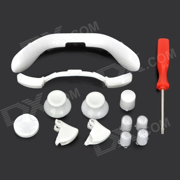 Replacement Button Caps Set w/ Screwdriver for XBOX 360 Wireless Controller - White + Red screwdriver for xbox 360 wireless controller red