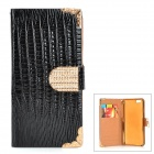 "Crocodile Skin Pattern PU Case + Film + Stylus Pen Set for IPHONE 6 4.7"" - Black + Gold"