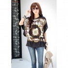 Fashionable Loose Retro Milk Fiber Top Shirt w/ Waist Belt for Women - Black + Multicolored