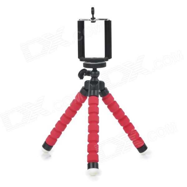 все цены на C006 Portable 2-in-1 Tripod + Phone Holder + Adapter Set for Cellphone / GPS / GoPro - Black + Red онлайн