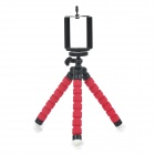 C006 Portable 2-in-1 Tripod + Phone Holder + Adapter Set for Cellphone / GPS / GoPro - Black + Red