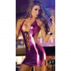 Sexy Tempting Elastic Backless Tight Patent Leather Dress for Party - Purple