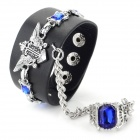 Cool Punk Style PU + Zinc Alloy Bracelet w/ Ring - Black + Silver + Blue