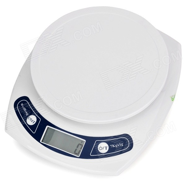 "1.8"" Display Electronic Kitchen Scale - White (2 x AAA / 7kg, 0.01g)"