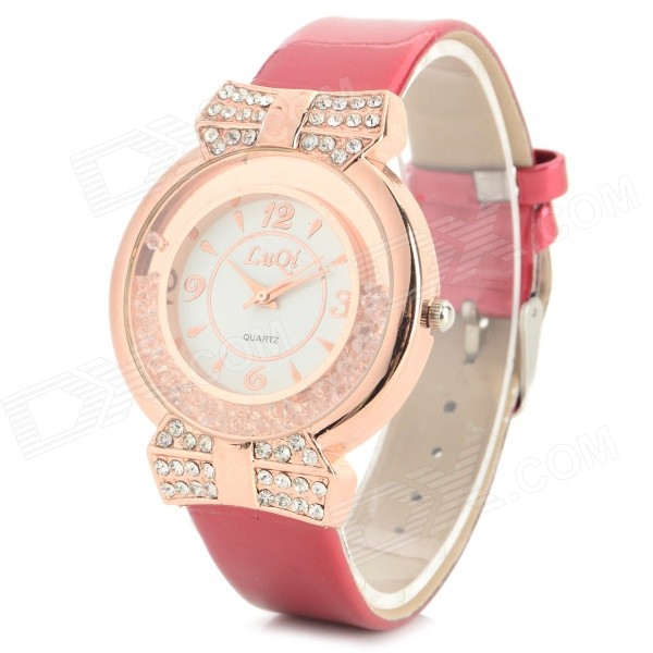 LUQI A08 Women's PU Band Rhinestone Inlaid Analog Quartz Watch - Rose Gold + Red (1 x 626) women s stylish rhinestone inlaid pu leather band analog quartz wrist watch pink 1 x 626